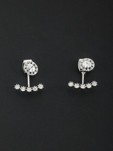 Mother's Initial White Studs stud Earring with Zircon