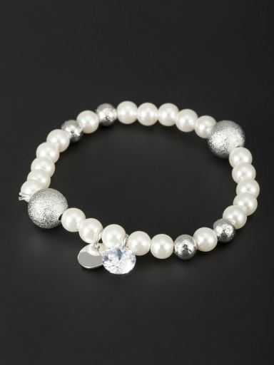 New design Platinum Plated Pearl Bracelet in White color