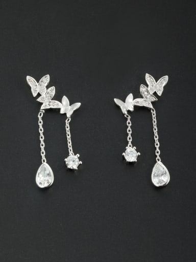 Model No NY38694-001 White Butterfly Youself ! Platinum Plated Zircon Drop drop Earring