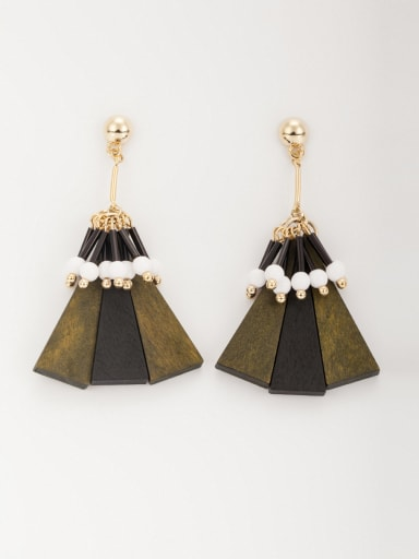 Fashion Gold Plated Wood Triangle Drop drop Earring