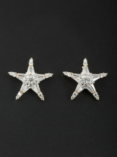 Personalized Gold Plated White Star Zircon Studs stud Earring