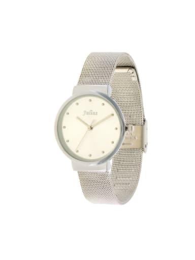 Fashion White Alloy Japanese Quartz Round Alloy Women's Watch 28-31.5mm
