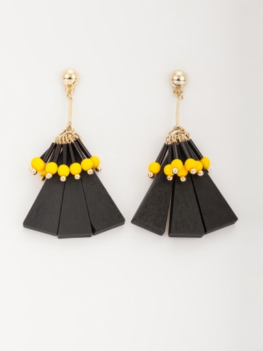 Gold Plated Wood Triangle Multicolor Beads Beautiful Drop drop Earring
