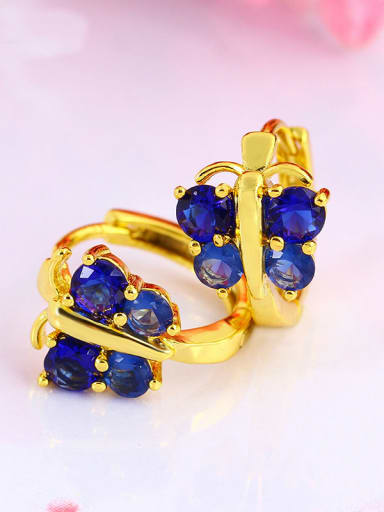Copper Alloy 24K Gold Plated Retro Korean Butterfly clip on earring