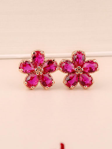 S925 Sterling Silver  Ear needles Ruby fashion Cluster earring