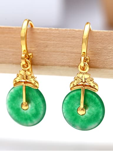 Copper Alloy 23K Gold Plated Fashion Jade drop earring