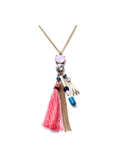 Alloy Fashion Artificial Stones Tassel Necklace