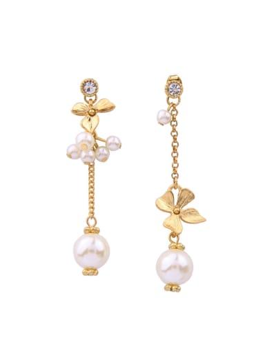 Flower Artificial Pearls Asymmetry Alloy Drop stud Earring