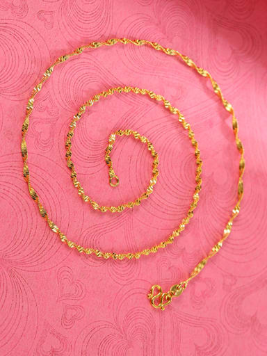 Copper Alloy 24K Gold Plated Simple Water Wave Necklace