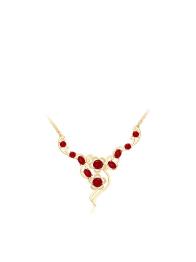 Copper Alloy 24K Gold Plated Classical Gemstone Necklace