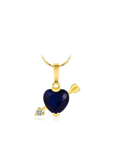 Copper 24K Gold Plated Creative Heart-shaped Zircon Necklace