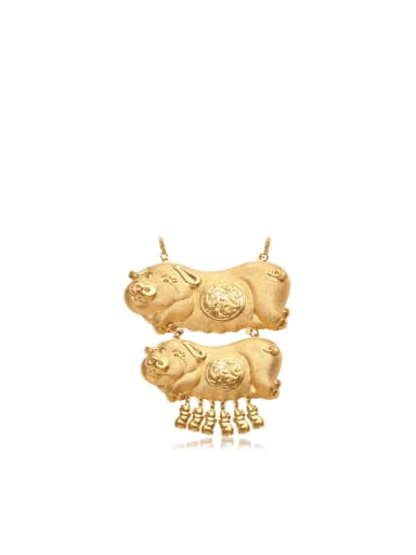 Copper 24K Gold Plated Noble Golden Pigs Necklace