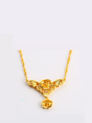 Copper 24K Gold Plated Classical Flower Necklace