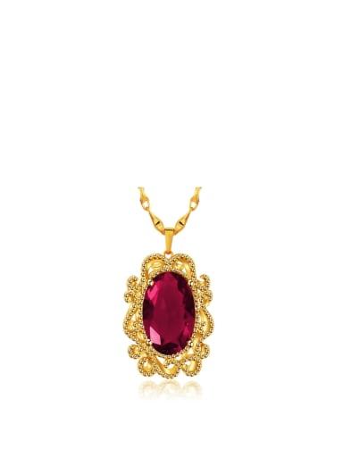 Copper 24K Gold Plated Retro Women Gemstone Necklace