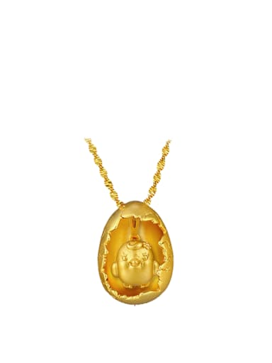 Copper Alloy 24K Gold Plated Chicken Creative Necklace