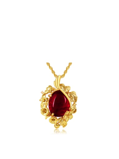 Copper 24K plated artificial Ruby Flower Necklace