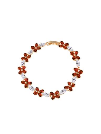 Copper Alloy 18K Gold Plated Fashion Flower Zircon Bracelet