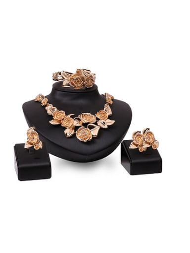 2018 Alloy Imitation-gold Plated Fashion Rhinestones Flower Four Pieces Jewelry Set