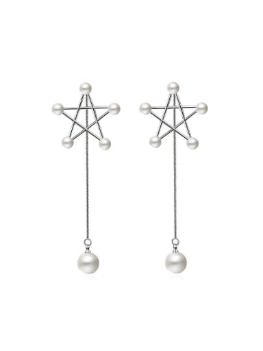 Fashion Hollow Star Imitation Pearls Drop Earrings