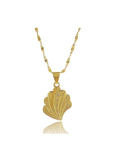 All-match Leaf Shaped 24K Gold Plated Copper Necklace