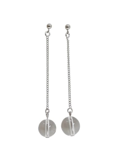 Simple Clear Crystal Ball Silver Drop Earrings