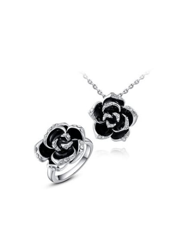 Black White Gold plated Flower Austria Crystal Two Pieces Jewelry Set