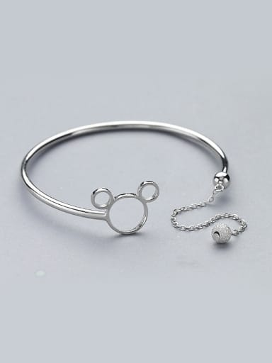 Personalized Cartoon Mickey Little Bead 925 Silver Opening Bangle