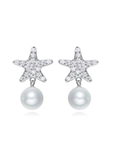 Fashion Artificial Pearl Shiny Zirconias-covered Star 925 Silver Stud Earrings