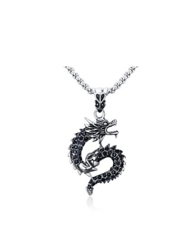 Personality Black Dragon Shaped Rhinestone Pendant