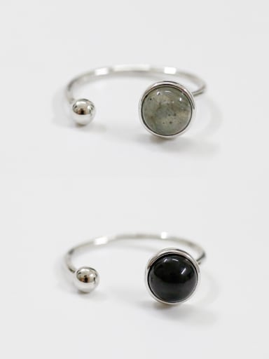 Pure silver fashion Black Agate Moonstone Ring
