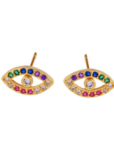 Copper With  Cubic Zirconia Fashion Evil Eye Stud Earrings