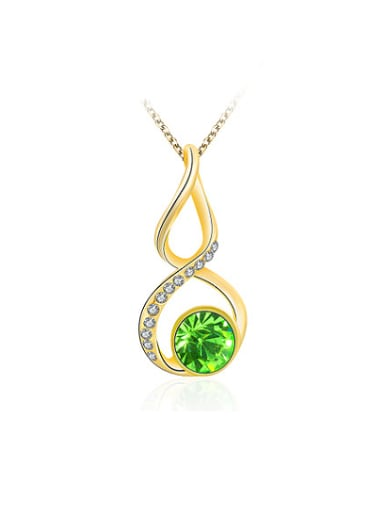 18K Gold Plated Figure Eight Shaped Rhinestone Necklace