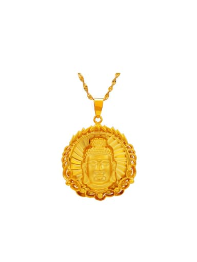 Copper Alloy 24K Gold Plated Retro style Kwan-yin Pendant