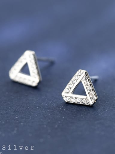 S925 Tremella nail female wind sweet, diamond triangle ear studs, art geometric shape female E9345