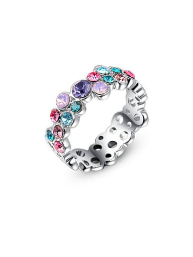Multi-color Austria Crystals Geometric Shaped Ring