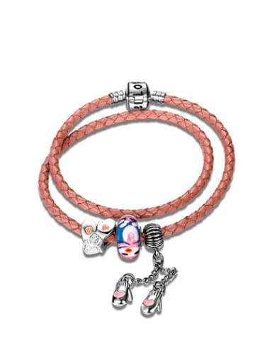 Pink Gloves Shaped Artificial Leather Bracelet