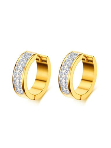 Fashion Gold Plated Geometric Shaped Rhinestone Clip Earrings