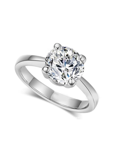 Simple Classical White Gold Plated Engagement Ring
