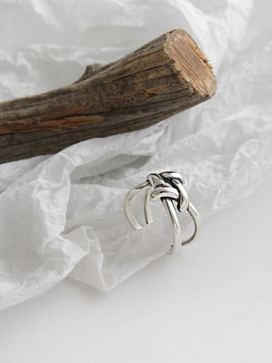 925 Sterling Silver With Antique Silver Plated Vintage Interlacing winding Square free size  Rings