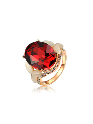 Fashion Red Oval Shaped Zircon Ring
