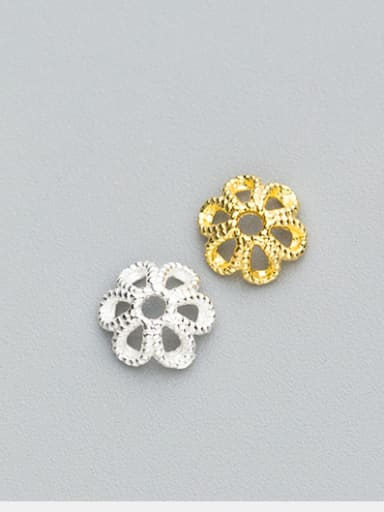 925 Sterling Silver With Silver Plated Hollow the six petals Bead Caps