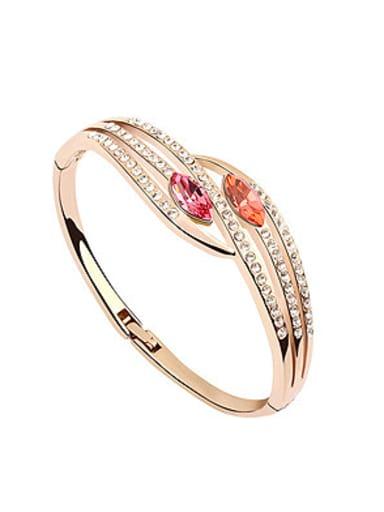 Fashion Rose Gold Plated Oval Swarovski Crystals Alloy Bangle