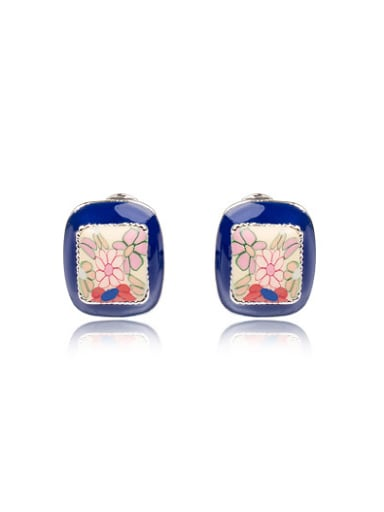 Ethnic Style Square Shaped Sunflower Pattern Earrings