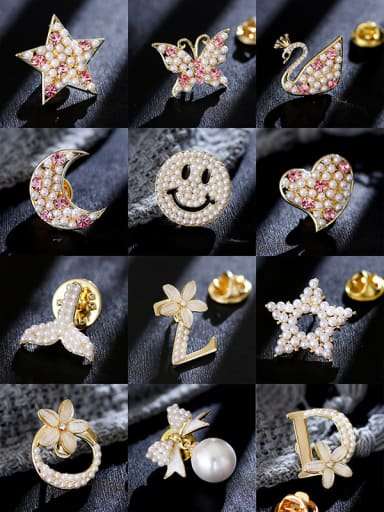Copper With Beads Fashion Bowknot Multi style combination Lapel Pins