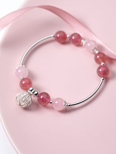 Fresh Ball Shaped S925 Silver Crystal Bracelet