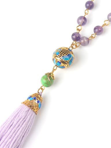 Bohemia Style Semi-precious Stones Tassel Necklace