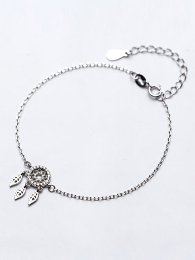 Fashionable Adjustable Round Shaped S925 Silver Rhinestone Bracelet