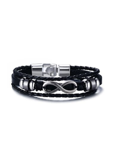 Exquisite Number Eight Shaped Artificial Leather Bracelet