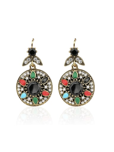 Ethnic style Colorful Resin stones White Crystals Alloy Earrings