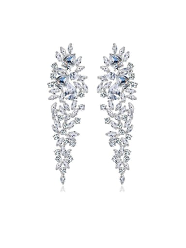 Copper inlaid AAA zircons luxurious bridal dinner Earrings